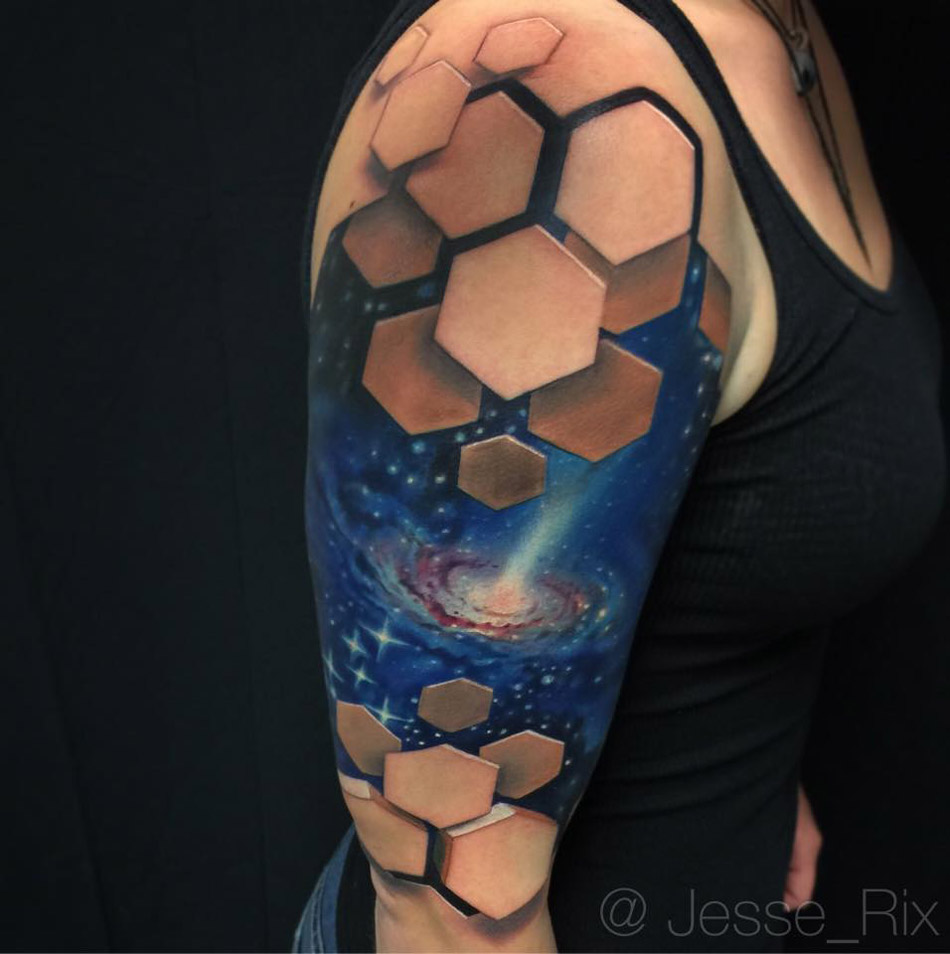 Galaxy Tatoo With 3D Hexagons Best Tattoo Design Ideas Ideas And Designs