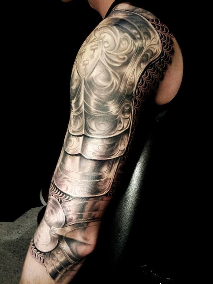 3D Realistic Armor Tattoo On Shoulder And Arm Ideas And Designs