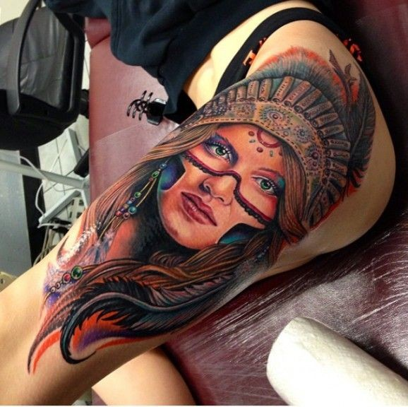 Beautiful Native American Girl Tattoo On Thigh By Roman Ideas And Designs