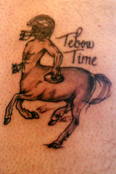 Tim Tebow Tattoo Is Price Of Lost Bet Among Denver Broncos Ideas And Designs