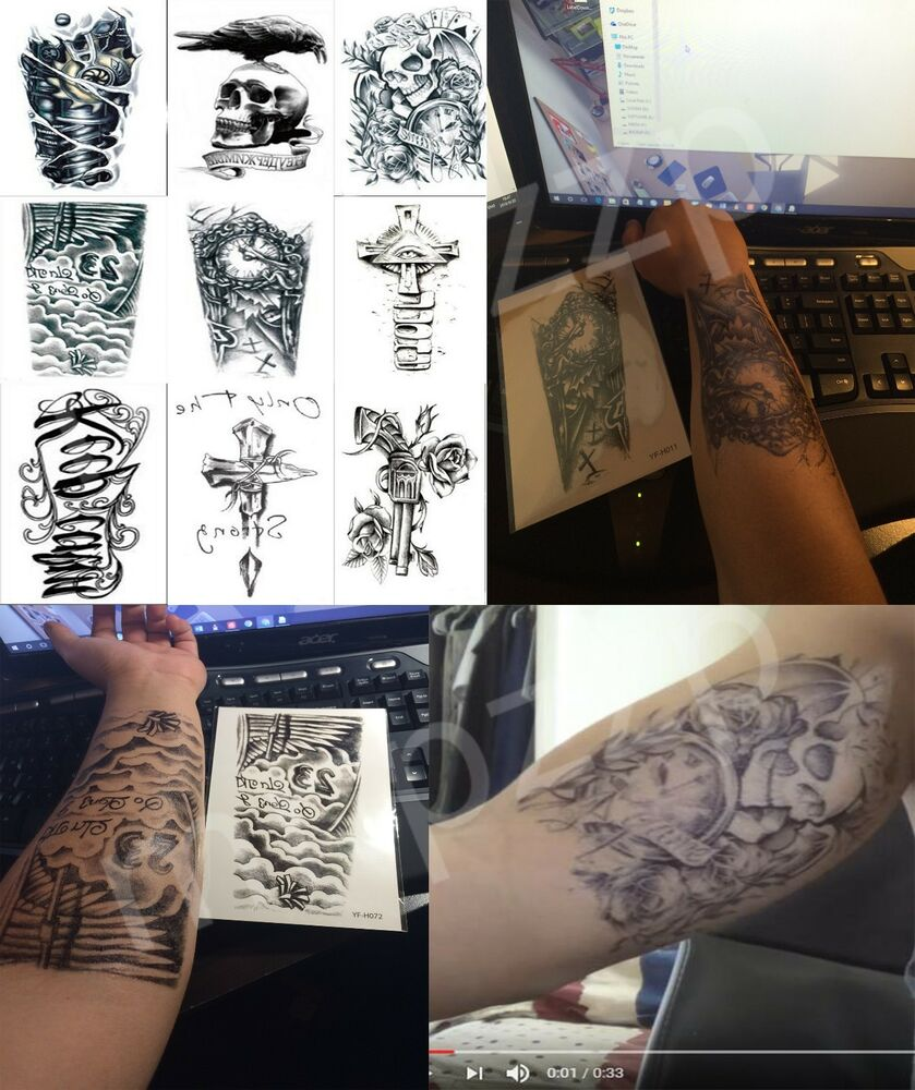 9 Sheets Large Waterproof Skull Fake Body Temporary Tattoo Ideas And Designs