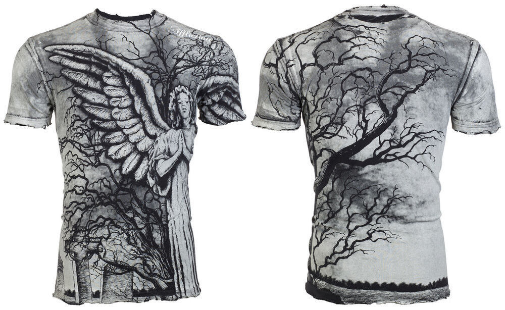 Affliction Mens T Shirt Grave Angel Tattoo Black Ideas And Designs