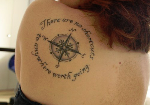 25 Compass Tattoo With Quote And Sayings Collection Ideas And Designs