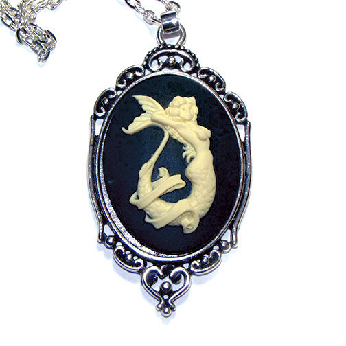 Mermaid Cameo Necklace 40X30Mm Cameo From Cudage On Etsy Ideas And Designs