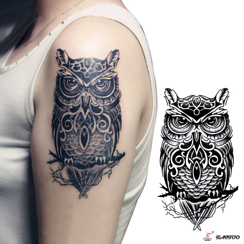 Temporary Tattoos Large Black Owl Arm Fake Transfer Tattoo Ideas And Designs