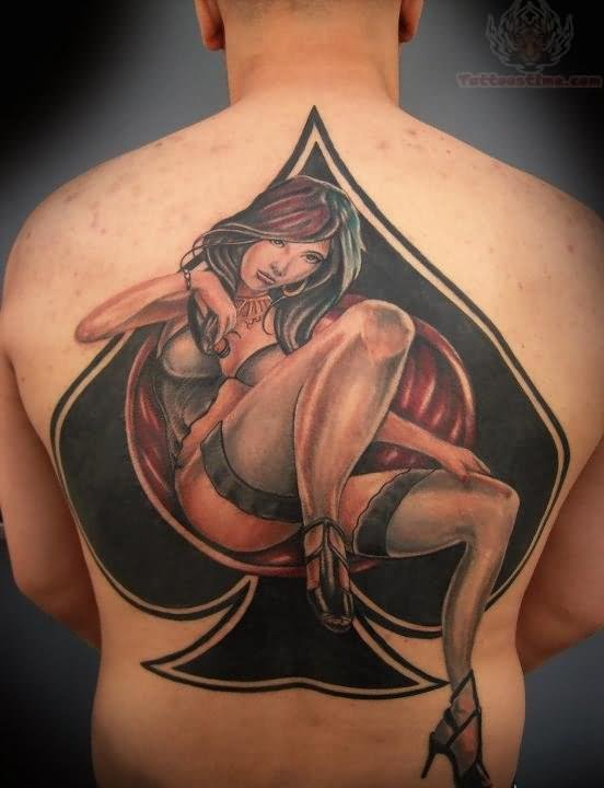 Ace Symbol And Girl Tattoo On Back Ideas And Designs