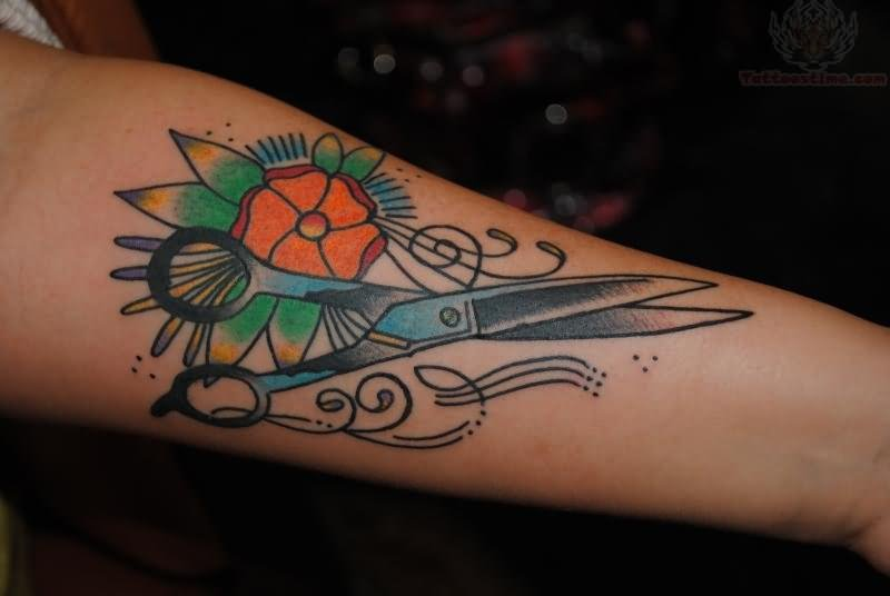 28 Amazing Colorful Scissor Tattoo On Watercolor Ideas And Designs