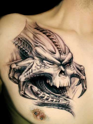 Biomechanical Alien Skull Tattoo On Man Chest Ideas And Designs