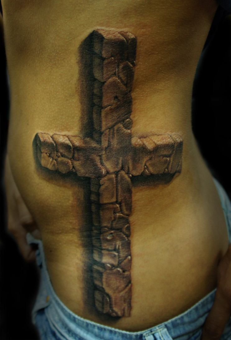 Grey Ink 3D Cross Tattoo On Rib Side Ideas And Designs