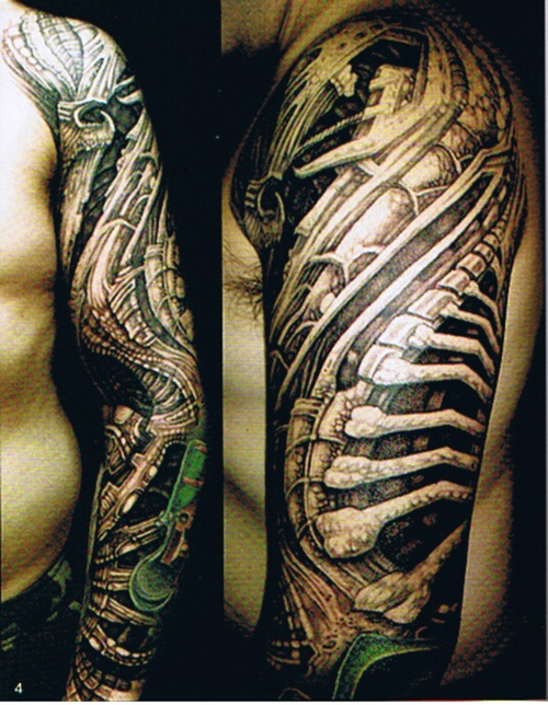 Grey Ink Biomechanical Sleeve Tattoos For Men Ideas And Designs