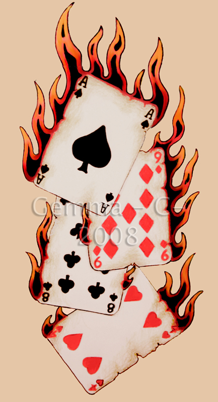 Flaming Cards Gambling Tattoo Design Ideas And Designs