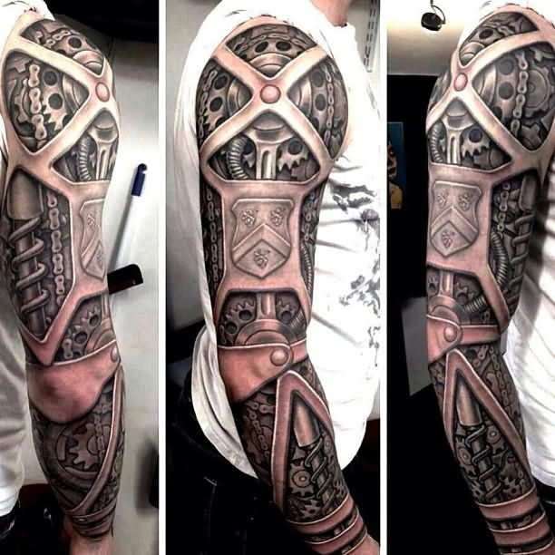 Rob Richardson 3D Biomechanical Sleeve Tattoo Ideas And Designs