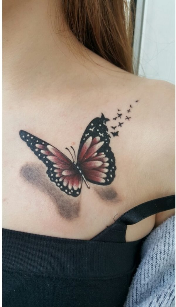 3D Butterfly Tattoo To Get For Front Shoulder Blurmark Ideas And Designs