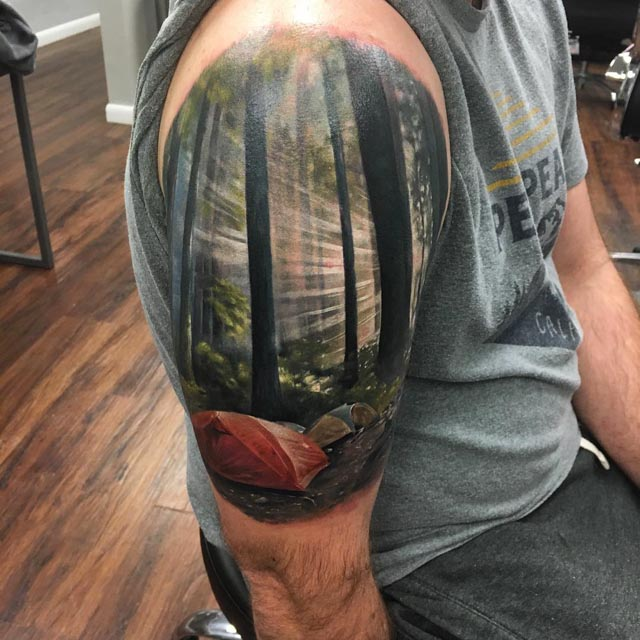 Camp Landscape Tattoo On Shoulder Best Tattoo Ideas Gallery Ideas And Designs