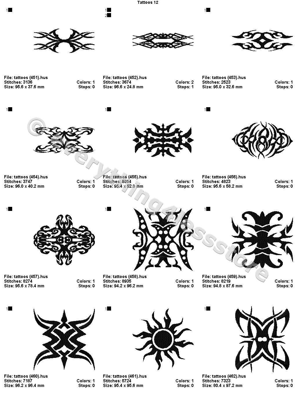 48 Tattoos 4X4 Volume 12 Mega Embroidery Designs On Cd Ebay Ideas And Designs