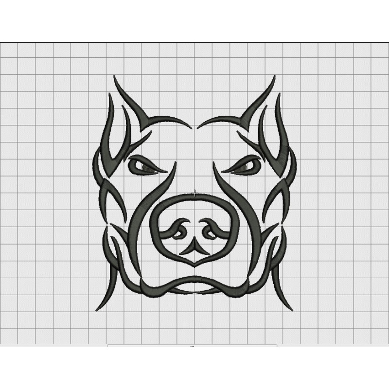 Pit Bull Dog Tribal Tattoo Embroidery Design In 3X3 4X4 Ideas And Designs