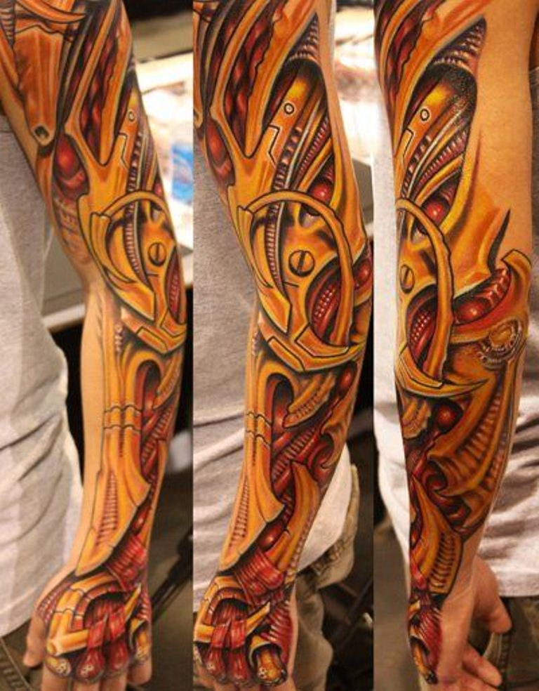 Biomechanical Sleeve Tattoos Tattoofanblog Ideas And Designs