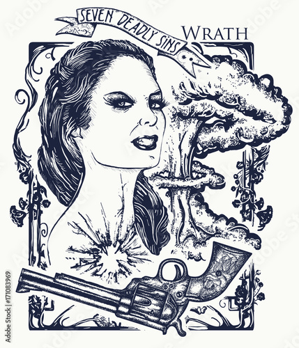 Wrath Seven Deadly Sins Tattoo And T Shirt Design Angry Ideas And Designs