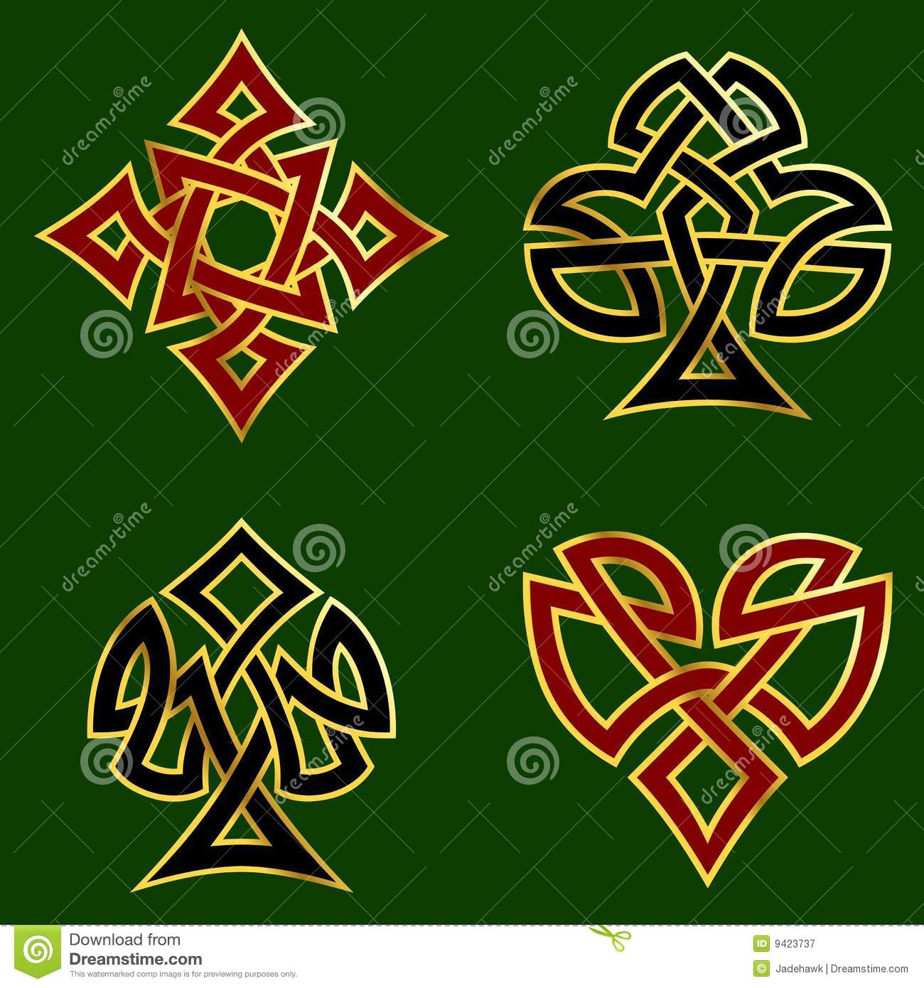Knotwork Card Suits Stock Vector Illustration Of Ideas And Designs
