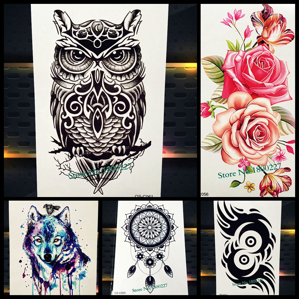 25 Style 3D Women Black Owl Temporary Tattoo Stickers Ideas And Designs