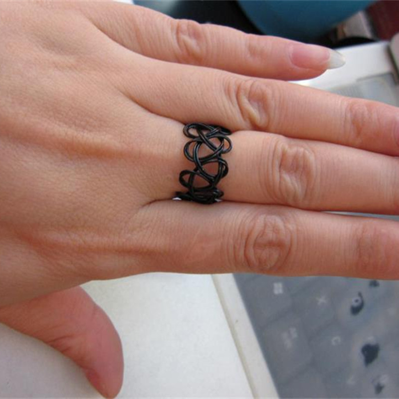 R290 Black Stretch Tattoo Finger Rings Handmade Fashion Ideas And Designs