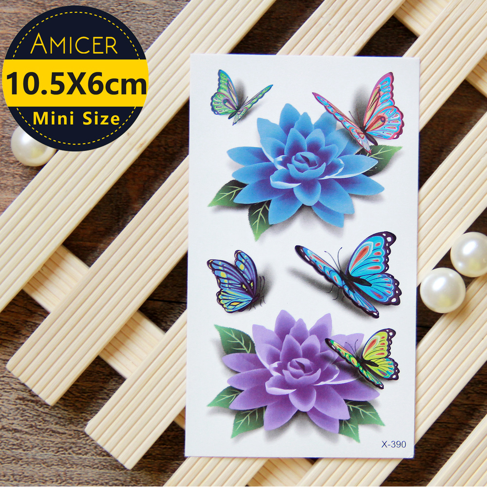 Blue Lotus Butterfly 3D Temporary Tattoo Body Art Flash Ideas And Designs