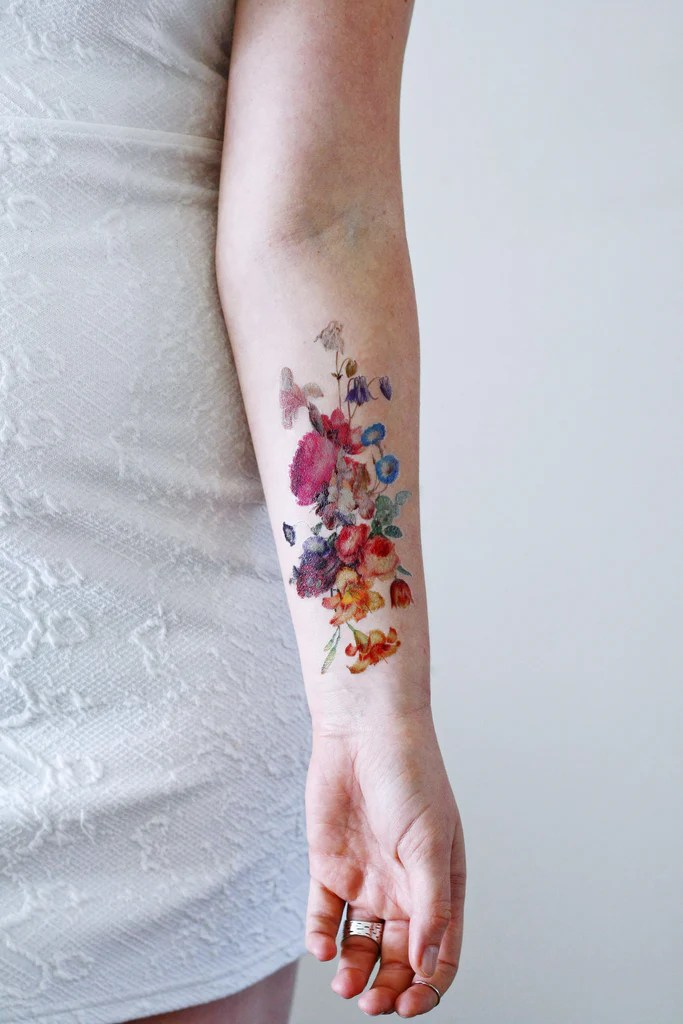 Beautiful Large Vintage Floral Temporary Tattoo Ideas And Designs