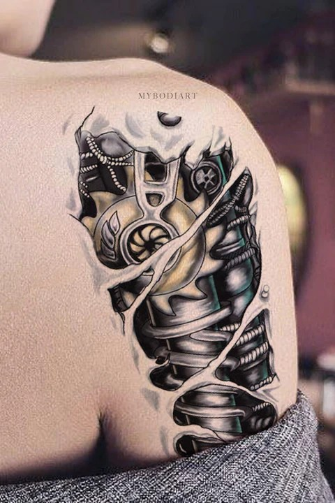 Unique Cool Robot Bionic Arm Sleeve Shoulder Temporary Ideas And Designs