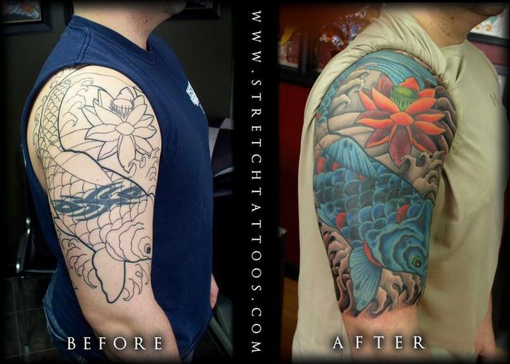 Tattoos Stretch Koi Half Sleeve Cover Up Tattoo Ideas And Designs
