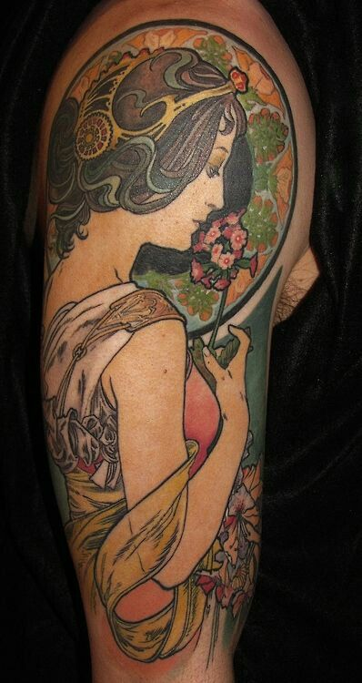 27 Best Art Nouveau Tattoo Images On Pinterest Cool Ideas And Designs