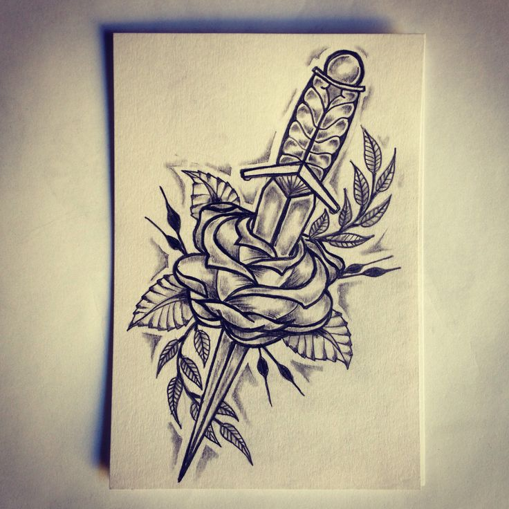 Dagger Rose Tattoo Sketch … Tattoo Art Sketches Ideas And Designs