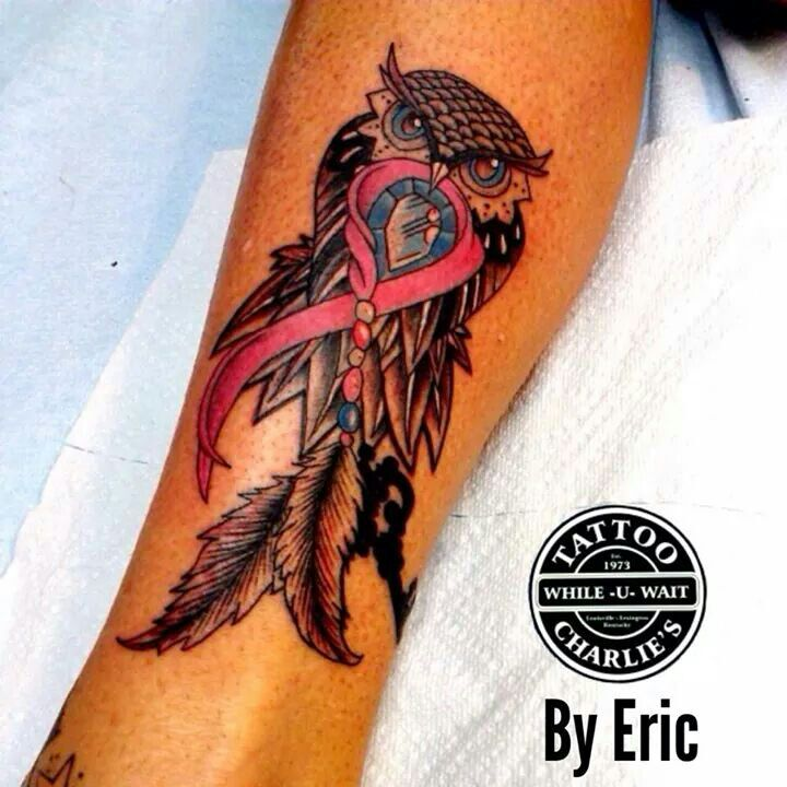 Awesome Owl Cancer Ribbon Tattoo Tattoos Cancer Ribbon Ideas And Designs