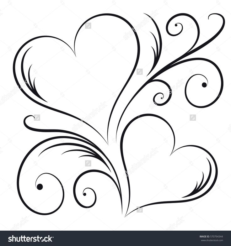 Two Hearts With Swirl Elements Heart Swirls Ideas And Designs