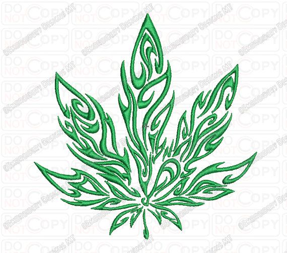 M*R*J**N* Tribal Flame Cannabis Leaf Embroidery Design In Ideas And Designs