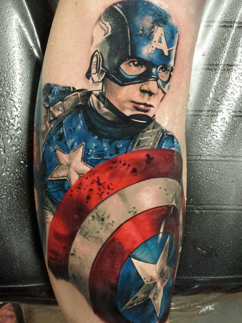 Captain America Shin Done By Craig Designer Ink Ideas And Designs