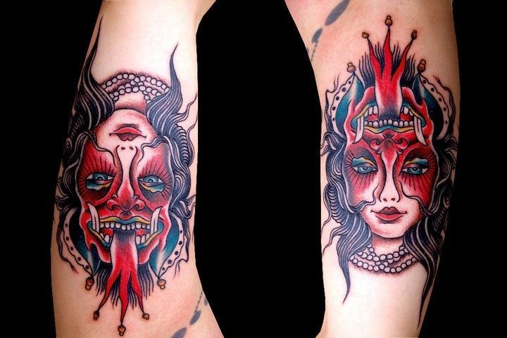 One Tattoo Two Differnt Faces Tattoos 2 Ambigram Ideas And Designs