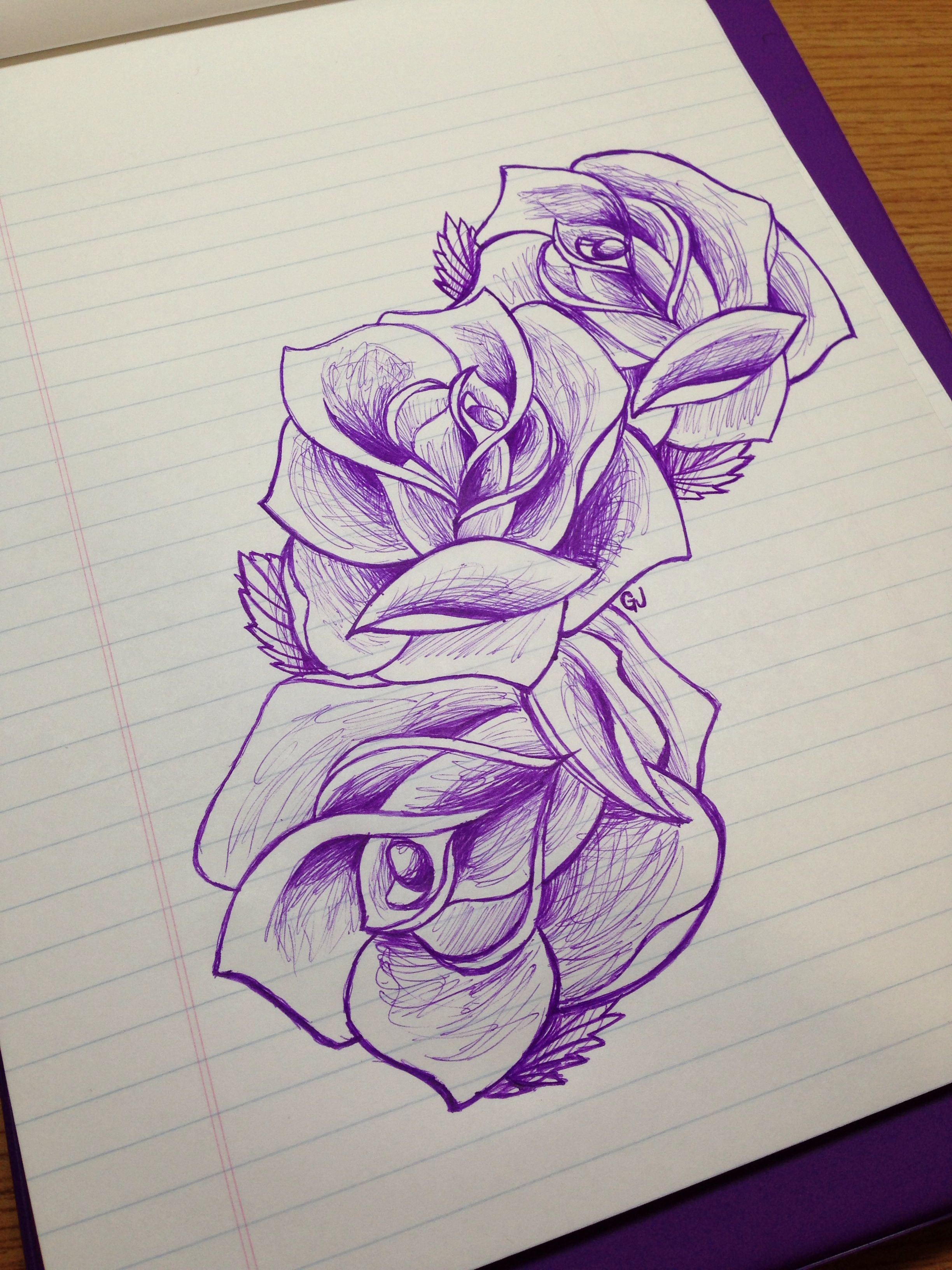 Rose Sketch Drawing Beautiful Design Three Flowers Ideas And Designs