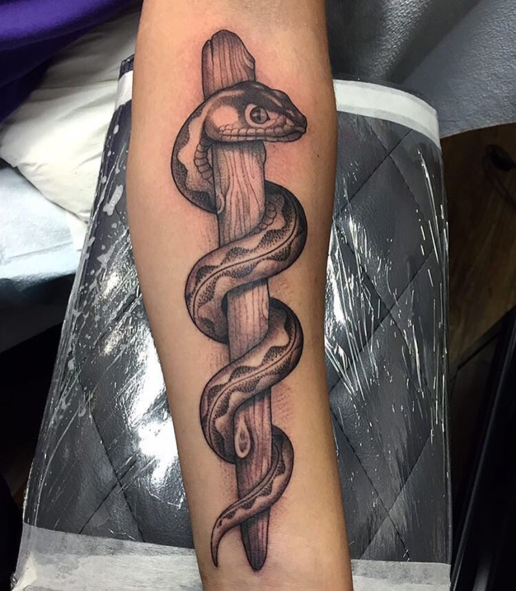 Rod Of Asclepius Completed By Mateorobles Tattoo Let S Ideas And Designs