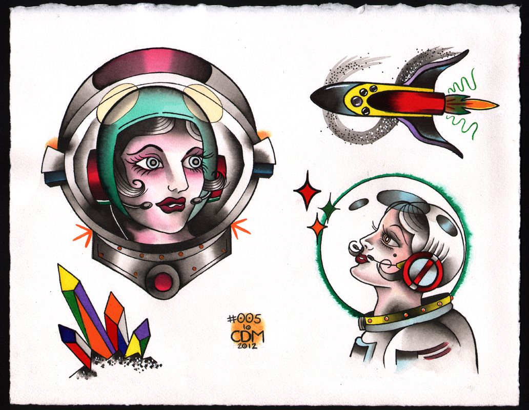 Ageless Arts Space Astronaut Girls Tattoo Flash Caitlin Ideas And Designs