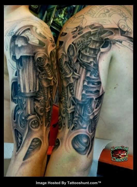 3D Biomechanical Alien Tattoo On Half Sleeve Tattoos Ideas And Designs