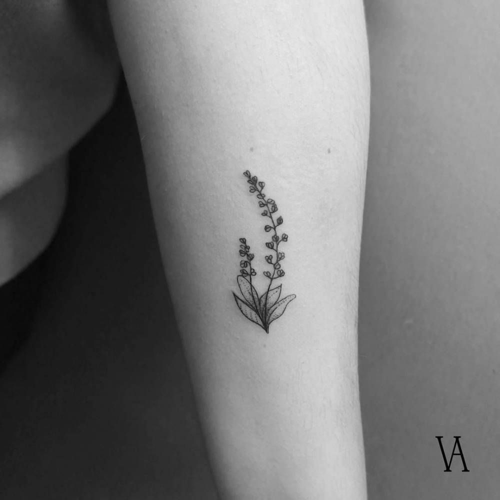 Fine Line Style Lavender Tattoo On The Left Forearm Ideas And Designs