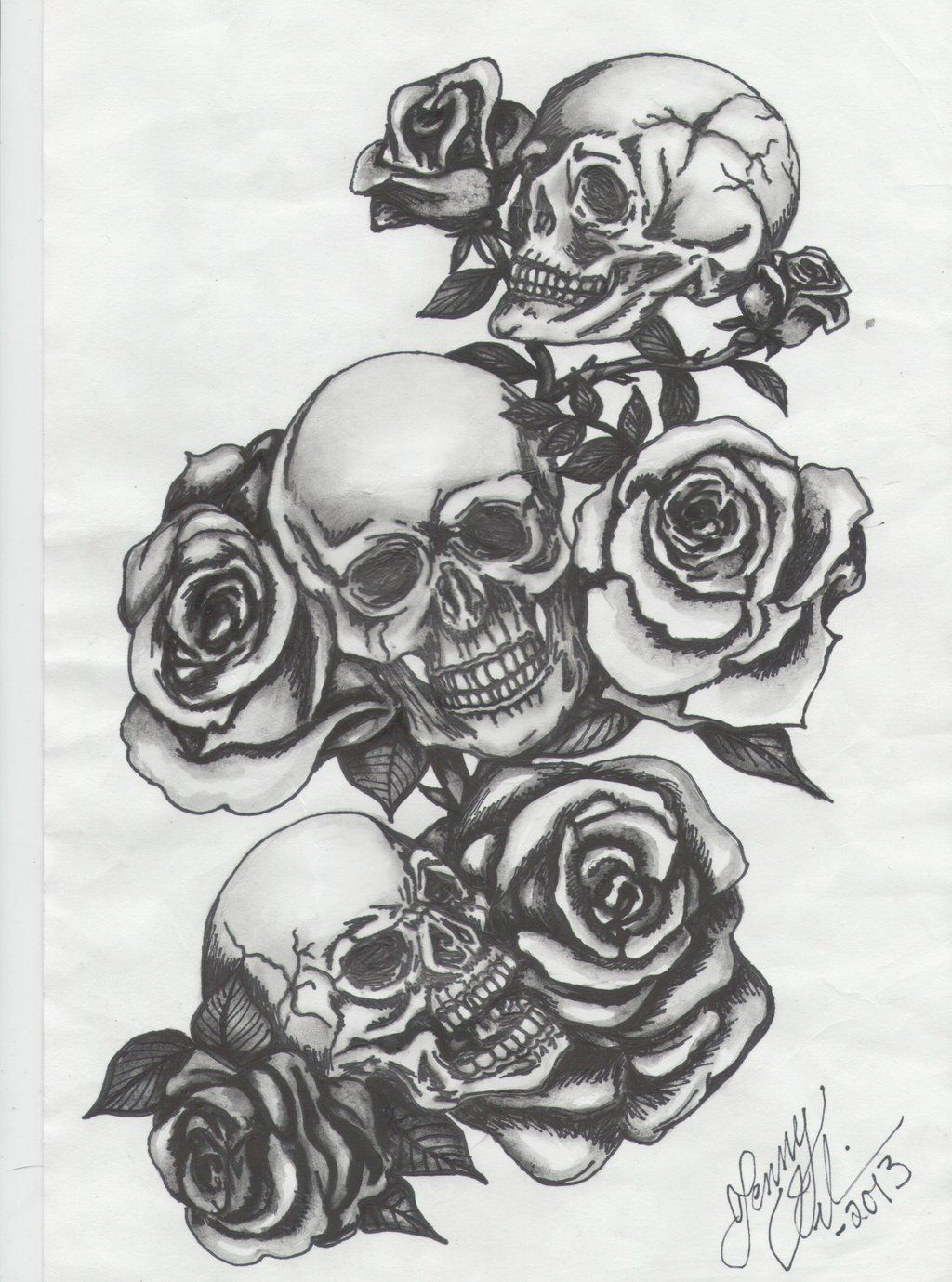 Three Skulls With Roses By Jenny Blue Deviantart Com On Ideas And Designs