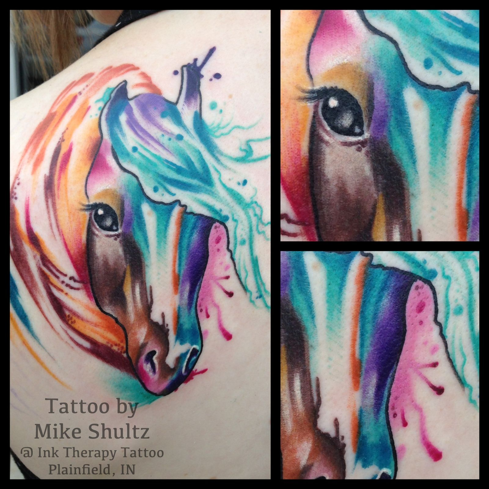 My Watercolor Paint Horse Tattoo Done By Mike Shultz Ideas And Designs