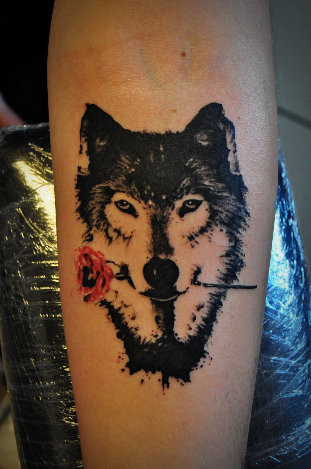 Wolf With Rose Tattoo By Kubach Deviantart Com On Ideas And Designs