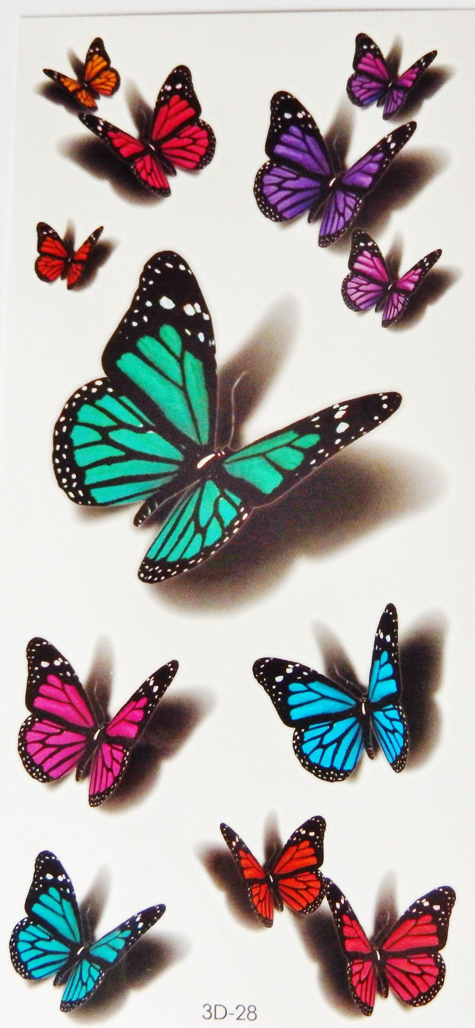 Colorful 3D Butterflies Scorpions Cats Temporary Tattoos Ideas And Designs