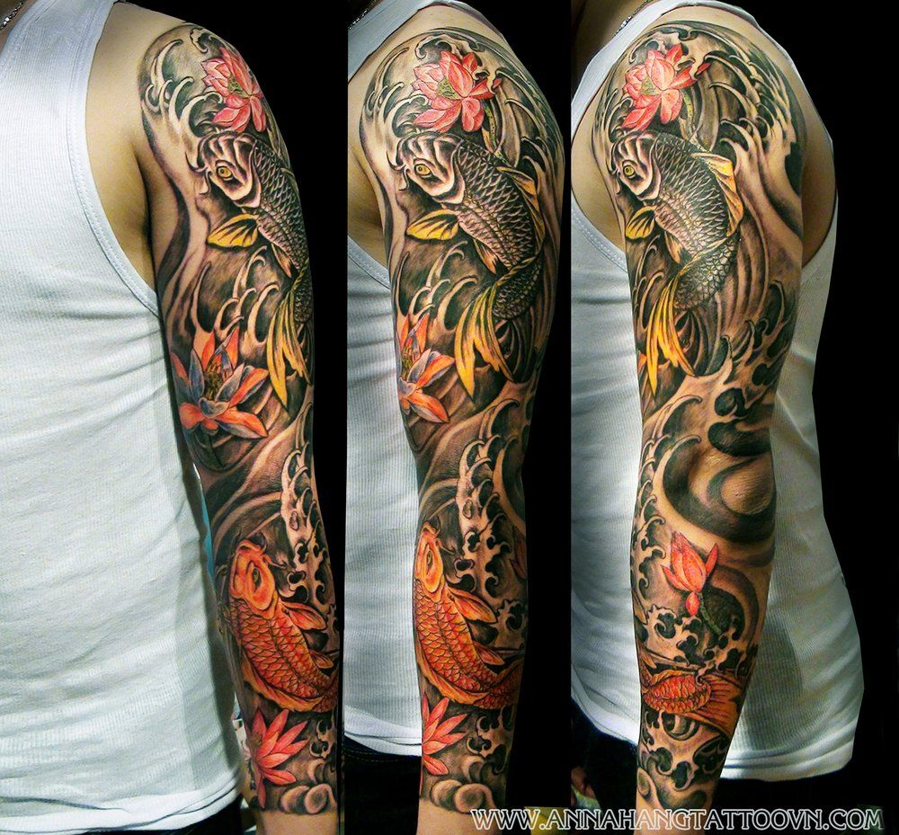 Black And Yellow 3D Arm Sleeve Tattoo Japanese Tattoos Ideas And Designs
