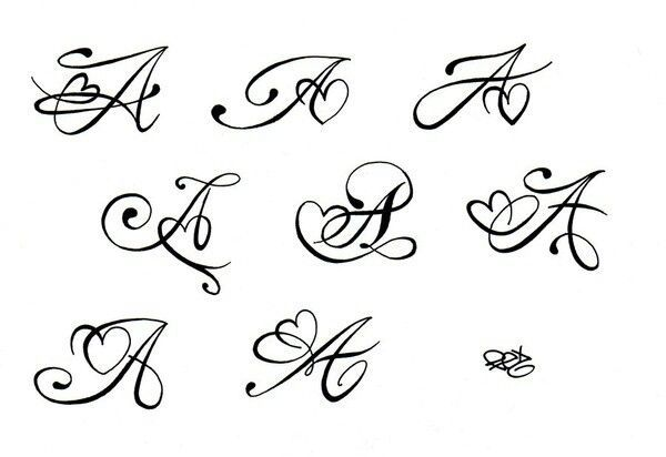 Initial A With Heart Swirl Tattoo Inspiration Tattoos Ideas And Designs