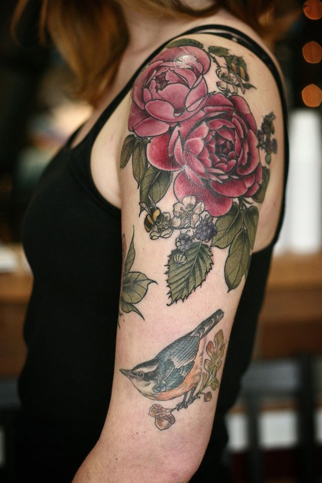 Rose Blackberries Bees Tattoo By Alice Carrier At Ideas And Designs