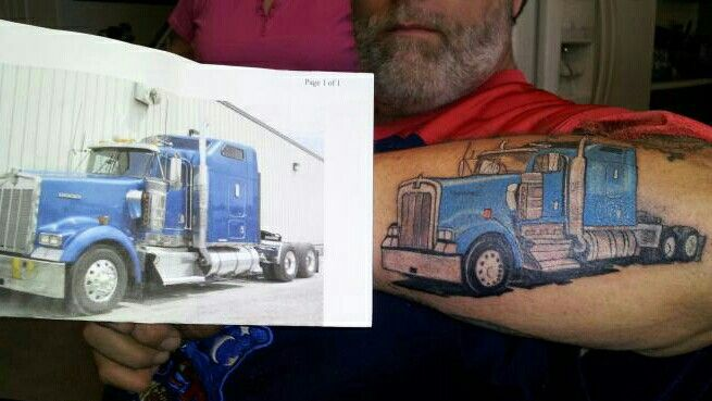 Semi Truck Tattoo On His Forearm My Tattoos I Did Ideas And Designs