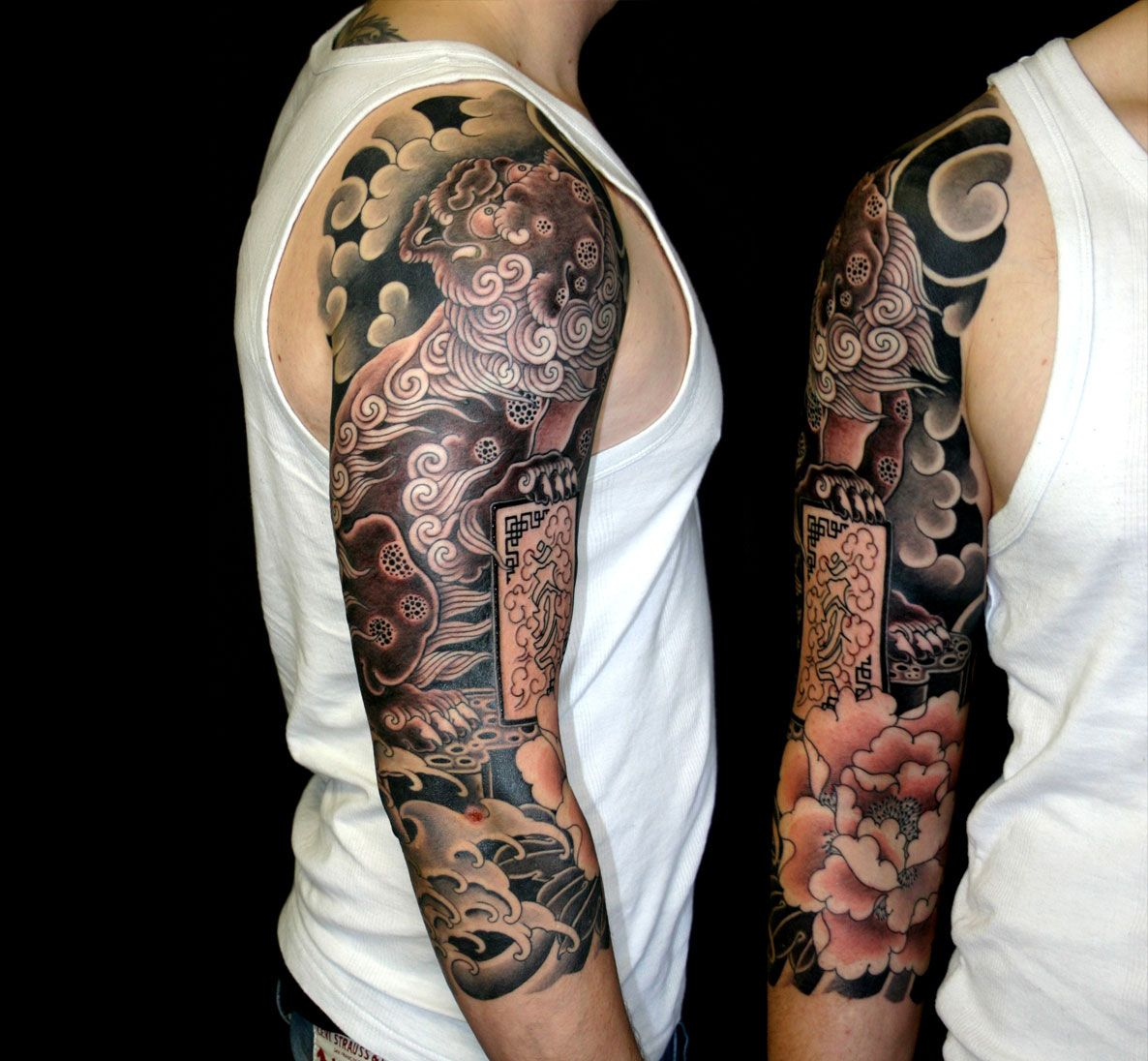 Japanese Lion Shisa 3 4 Tattoo Sleeve Artist Unknown By Ideas And Designs